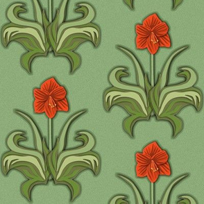 Cut Paper Art Nouveau Amaryllis Red with Green Leaves