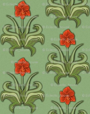Rrcut_paper_art_nouveau_amaryllis_red_with_green_leaves_preview