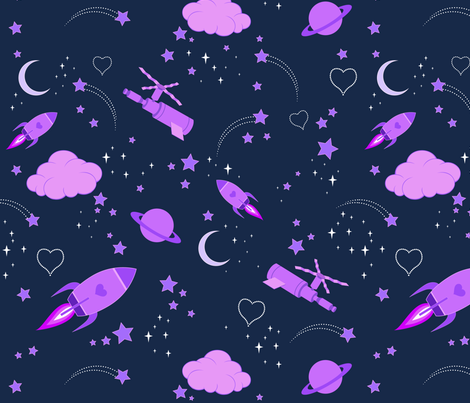Outer space girl fabric damecat spoonflower for Outer space material
