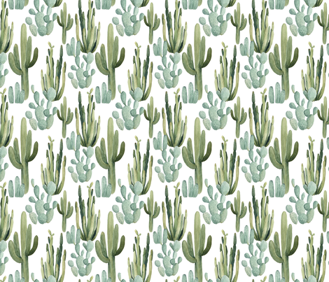 Desert Cactus fabric by bluebirdcoop on Spoonflower - custom fabric