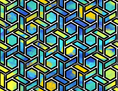 Blue Stained Glass Hexagons