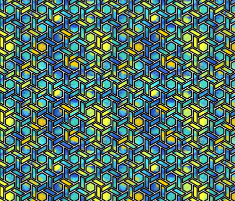 Blue Stained Glass Hexagons fabric by chiral on Spoonflower - custom fabric