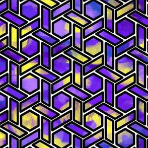 Purple Stained Glass Hexagons