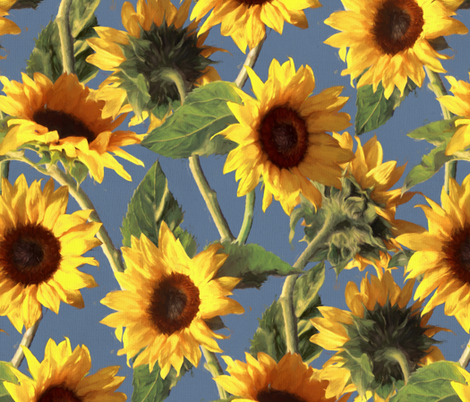 Sunflowers on Light Blue fabric by micklyn on Spoonflower - custom fabric