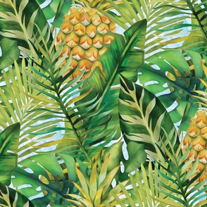 Tropical  Leaves - Pineapple - Green