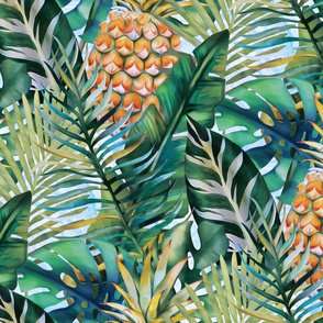 Tropical Vegetation - Pineapple - Teal