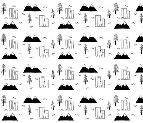 Utah Mountains | White fabric by handmadephd on Spoonflower - custom fabric