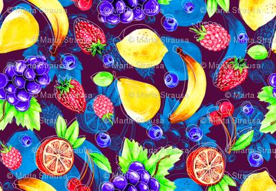 Pop art watercolor fruits
