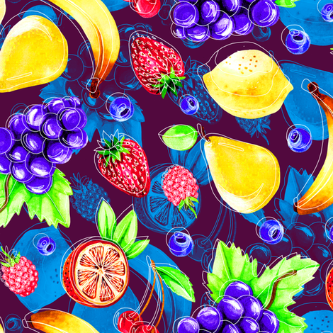 Pop art watercolor fruits fabric by marta_strausa on Spoonflower - custom fabric