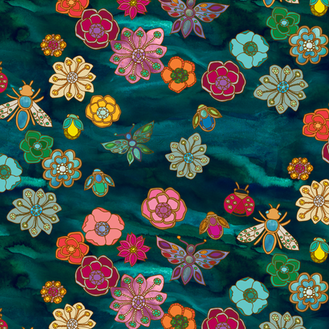 The Jewelled Garden {Turquoise} fabric by ceciliamok on Spoonflower - custom fabric