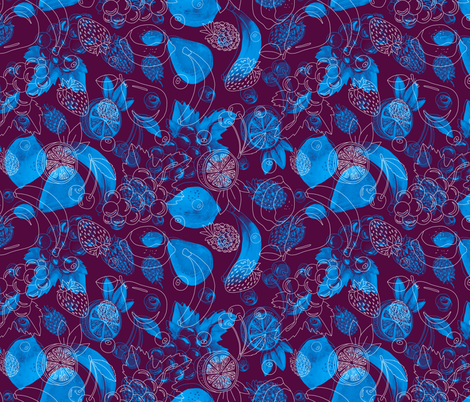 Blue fruits fabric by marta_strausa on Spoonflower - custom fabric