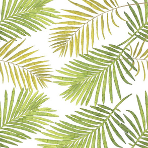 Watercolor Palm Leaves - White