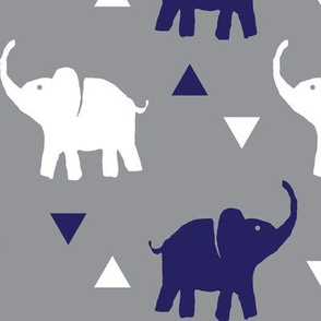 Elephants & Triangles - Gray White Navy Blue