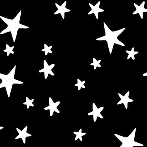 Drawn Stars - White on Black