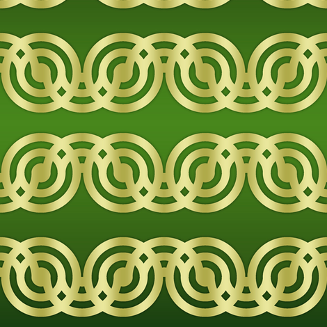 Circle Chains in green and gold fabric by mel_fischer on Spoonflower - custom fabric