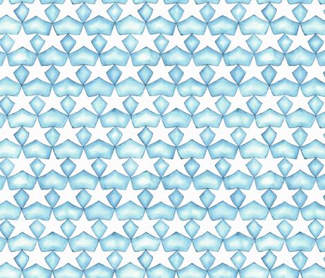 Watercolor Stars - Aqua fabric by byre_wilde on Spoonflower - custom fabric