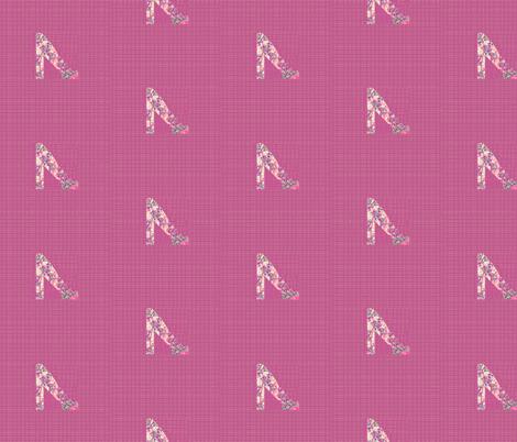 ecru shoe on rose fabric by twigsandblossoms on Spoonflower - custom fabric