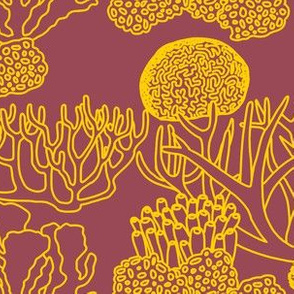 Coral (yellow on dark mauve)