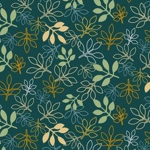 Rose Leaf Prints in Teal, Yellow, Green