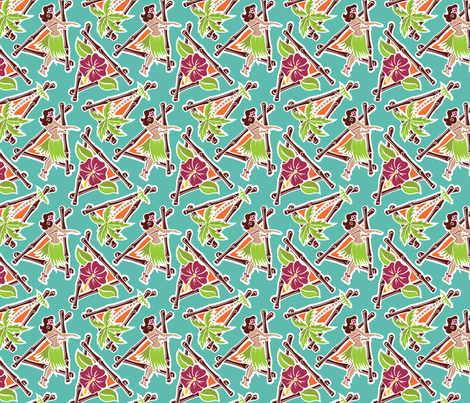 Maui Pop - Hula Honey - Aqua fabric by shannanigan on Spoonflower - custom fabric