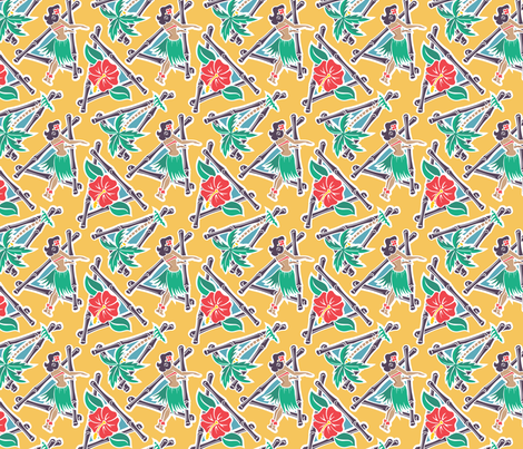 Maui Pop - Hula Honey - Yellow fabric by shannanigan on Spoonflower - custom fabric