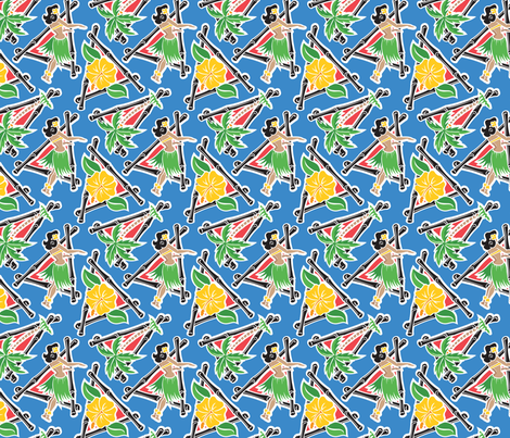 Maui Pop - Hula Honey - Blue fabric by shannanigan on Spoonflower - custom fabric