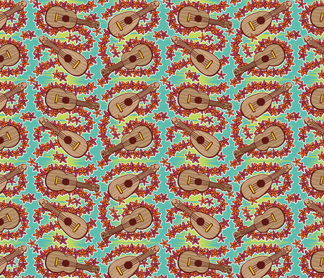 Oily Aloha - Ukulele - Aqua fabric by shannanigan on Spoonflower - custom fabric