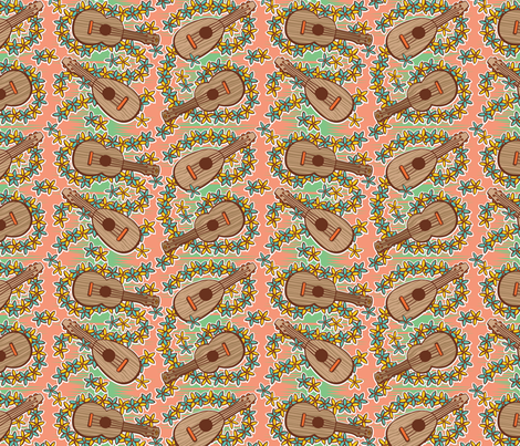 Oily Aloha - Ukulele - Coral fabric by shannanigan on Spoonflower - custom fabric