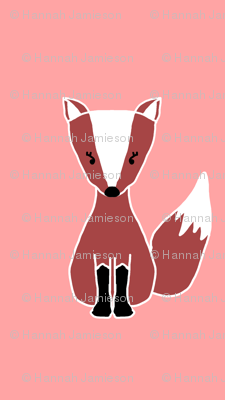 Larger Salmon Pink Cute Foxes