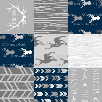 Patchwork Deer - Little Man - Navy and Grey