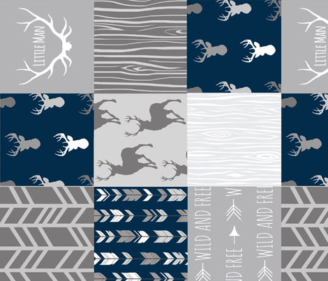 Patchwork Deer - Little Man - Navy and Grey fabric by sugarpinedesign on Spoonflower - custom fabric