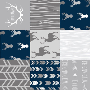 Patchwork Deer - Little Man - Navy and Grey