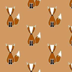 Cute Foxes on Rusty Orange