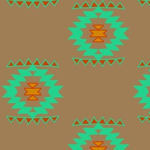 Native Aztec Navajo Teal and Orange