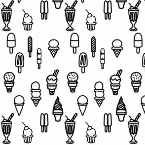 Black and White Outlines of Ice Cream and Popsicles Frozen Treats