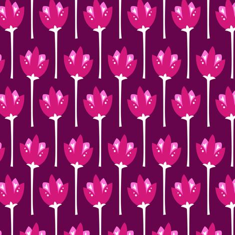 Tulip Fields (Dark Pink) fabric by robyriker on Spoonflower - custom fabric