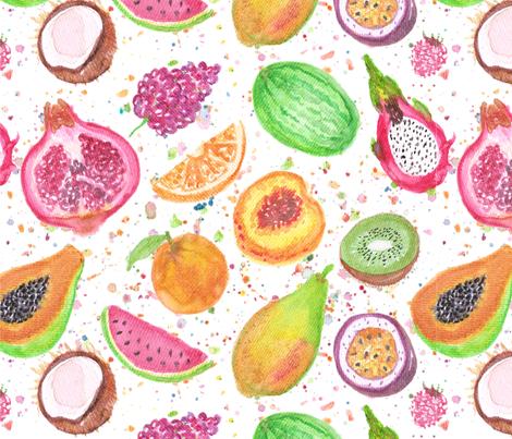 Fresh Fruits in Watercolor fabric by mandalinarossa on Spoonflower - custom fabric