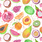 Fresh Fruits in Watercolor