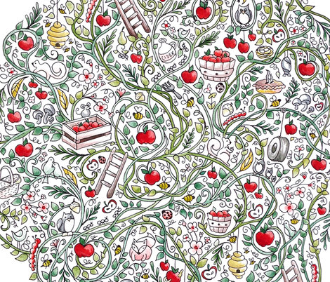 Apple Orchard Watercolor fabric by lisalangenhop on Spoonflower - custom fabric