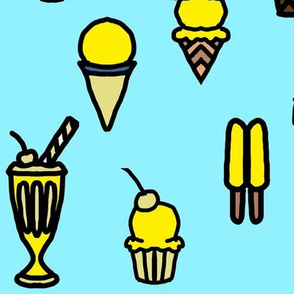Large Yellow Ice Cream and Popsicles on Blue Frozen Treats