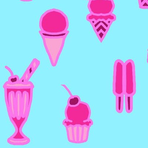 Large Pink on Blue Ice Cream and Popsicle Frozen Treats
