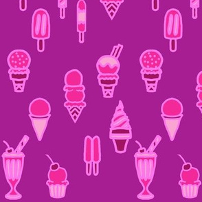 Berry Pink Ice Cream and Popsicles Frozen Treats