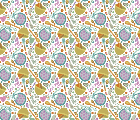 Lick the Spoon - White fabric by denise_ortakales on Spoonflower - custom fabric