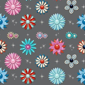 Jackie* (Pepper Pot) || flower floral garden vintage 60s 70s enamel brooch pin vector illustration star starburst atomic