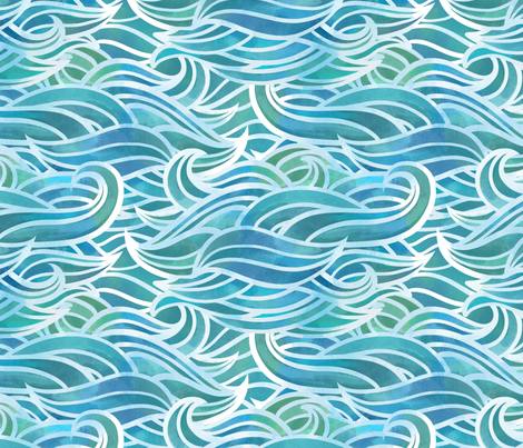 Abstract watercolor waves fabric by elena_naylor on Spoonflower - custom fabric