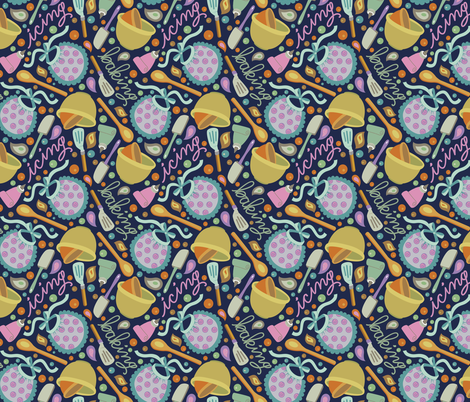 Lick the Spoon - Navy fabric by denise_ortakales on Spoonflower - custom fabric