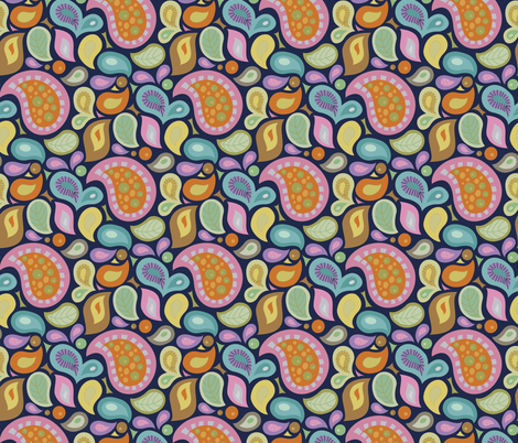Cooking Paisley - Navy fabric by denise_ortakales on Spoonflower - custom fabric