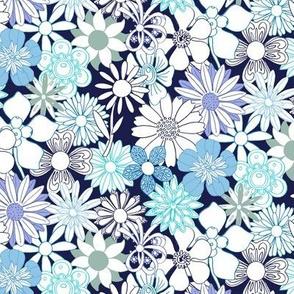Chelsea* (Blue Outlines on Jackie Blue) || vintage 60s 70s enamel pin brooch flower floral garden pastel sheet illustration spring summer bouquet