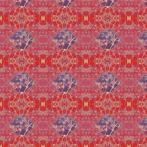 blue diamond on red