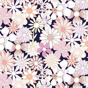 Chelsea* (Pink Outlines on Jackie Blue) || vintage 60s 70s enamel pin brooch flower floral garden pastel sheet illustration spring summer bouquet